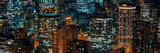 Fototapeta Miasto - Chicago cityscape skyscrapers at night aerial view