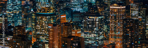 Chicago cityscape skyscrapers at night aerial view Fotobehang