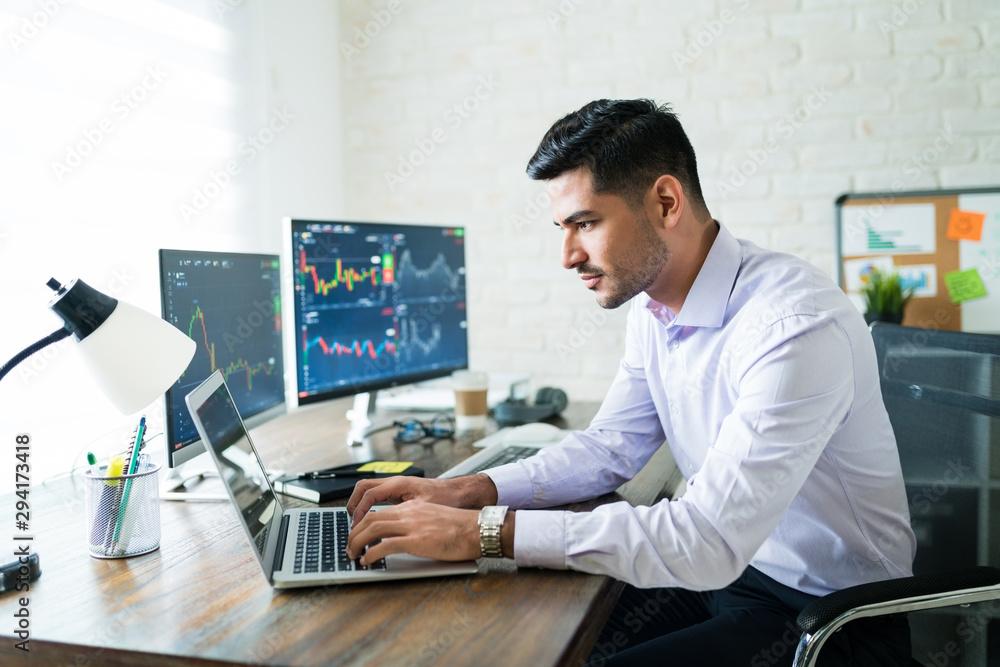 Fototapeta Hispanic Finance Professional Making Money Online