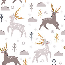 Seamless Pattern With Christmas Deers On White Background - Vector Illustration, Eps