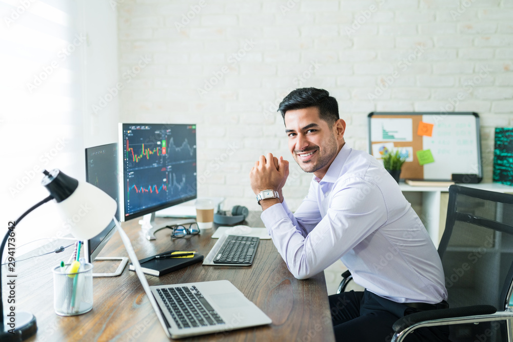 Fototapeta Happy Attractive Young Stock Broker Working At Home