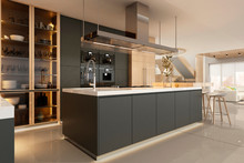 Modern Kitchen Interior In Black Colors