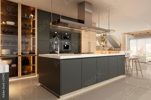 Fotografia Modern kitchen interior in black colors