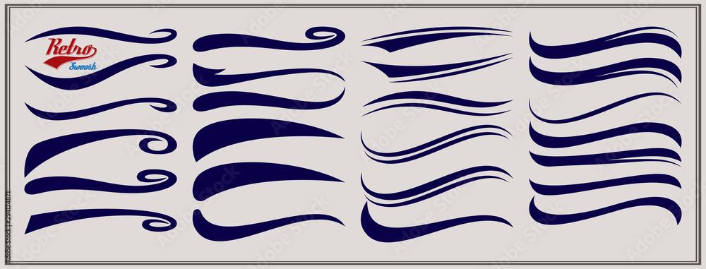 Fototapeta Vector set of texting tails. Sport logo typography vector elements. Swirl swash stroke design, curl typographic illustration