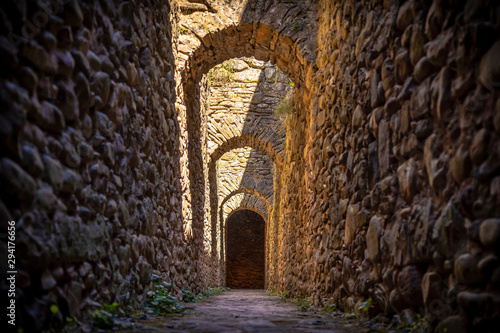 Jaca, Huesca / Spain »; September 29, 2019: Narrow corridors in the citadel of Jaca