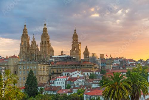 Foto Aerial view on Santiago de Compostela Cathedral, Galicia, Spain