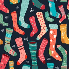Seamless Pattern With Colorful Socks