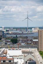 Industrial Part Of Old Belgian City Antwerpen View From Above