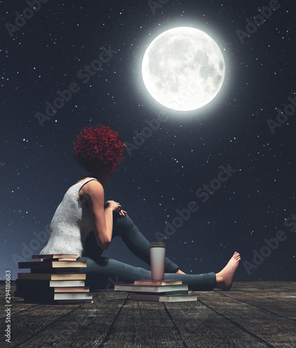 Gris traffic Girl sitting on wooden floors looking to the moon,3d illustration
