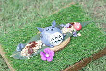 A Cute Pudding Dessert Of Teddy Bear With Mushroom And Flower Decoration. Dessert In The Flower Garden Concept.