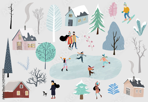 Winter collection set with home,snow,tree,people illustration for sticker,postcard,background,christmas invitation