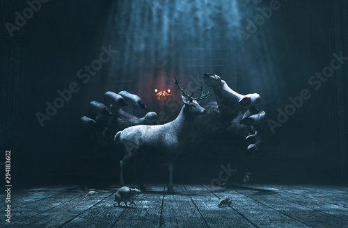 Fotografía  Offering,Pity lost deer in abandoned place with monster whom hiding and waiting