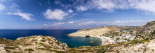 The Coast And Mountains Of Matala On A Clear Summer Sunny Day. Crete, Greece.