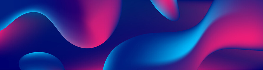 Abstract blue and purple liquid wavy shapes futuristic banner. Glowing retro ...