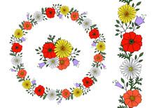 Beautiful Floral Circular Wreath With Red Poppy Flower, Blue Bellflower, Yellow Daisy Isolated On White Background; Endless Colorful Vertical Brush; Vivid Decorative Frame For Postcard, Greeting Card