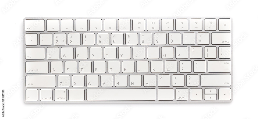 Fototapeta Top view keyboard isolated white background
