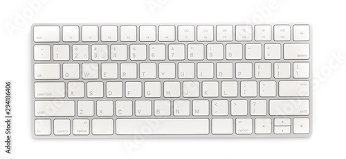 Stampa su Tela Top view keyboard isolated white background