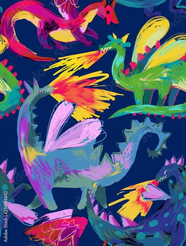 Photo  Seamless pattern with mythological animal