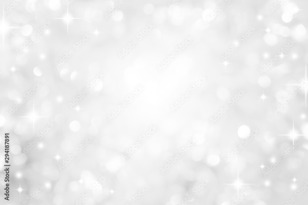 Fototapeta abstract blur white  and silver color background with star glittering light for show,promote and advertisee product and content in merry christmas and happy new year season collection concept