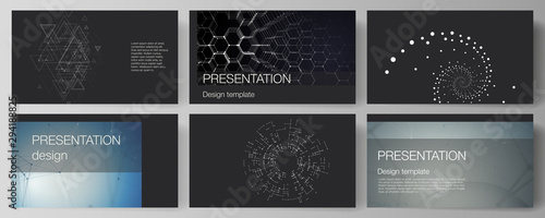 Fototapeta  The minimalistic abstract vector illustration of the editable layout of the presentation slides design business templates