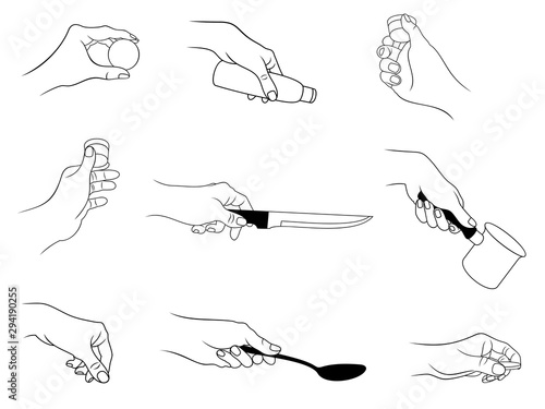Valokuva  Vector set of outline, various hand actions and gestures by kitchen theme, isolated, in black color, on white background