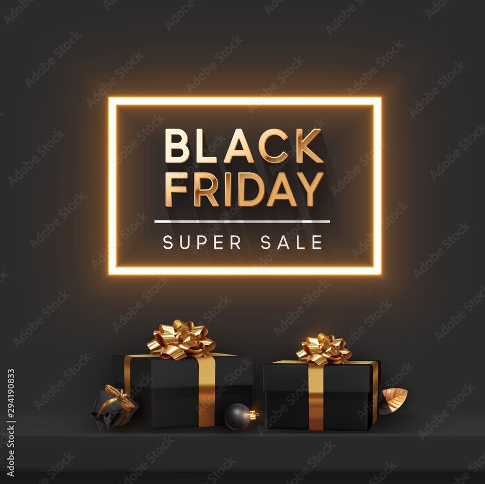 Fototapeta Black Friday Super Sale. Shelf and podium with realistic black gifts boxes with gold bows. Dark background golden text lettering in bright glowing neon frame. vector illustration