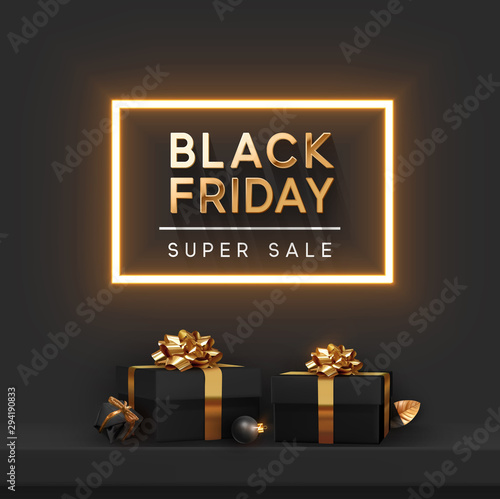 Fototapeta Black Friday Super Sale. Shelf and podium with realistic black gifts boxes with gold bows. Dark background golden text lettering in bright glowing neon frame. vector illustration obraz