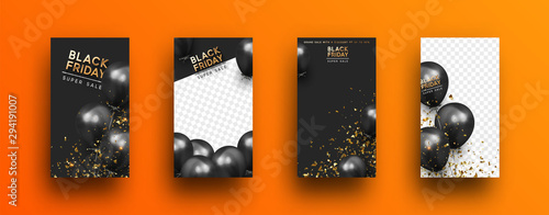 Obraz Black Friday. Festive background with helium balloons. Poster, banner, happy anniversary. 3d object ballon with ribbon and confetti. Story template, copy space for text. social media. Social network - fototapety do salonu