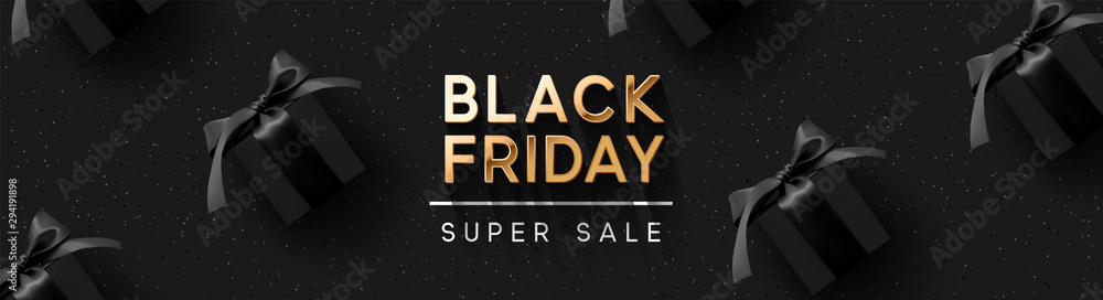 Fototapety, obrazy: Black Friday Super Sale. Realistic black gifts boxes. Pattern with gift box. Dark background golden text lettering. Horizontal banner, poster, header website. vector illustration