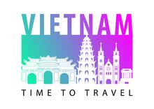 Vietnam Famous Landmark Silhouette Style