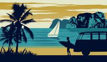 Nature Scene Of Sea In Summer,man Hold Surfboard Near Beach