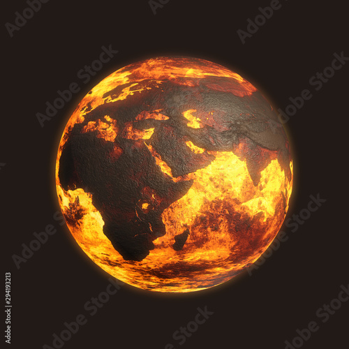 Photo Scorched Post Apocalyptic Planet Earth - Europe Asia Africa