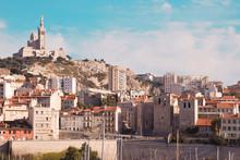 Notre Dame De La Garde And Le Vieux Port Vintage Picture