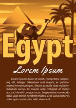 Egypt Landmark Brochure In Typography Vintage Color Design,advertising Artwork
