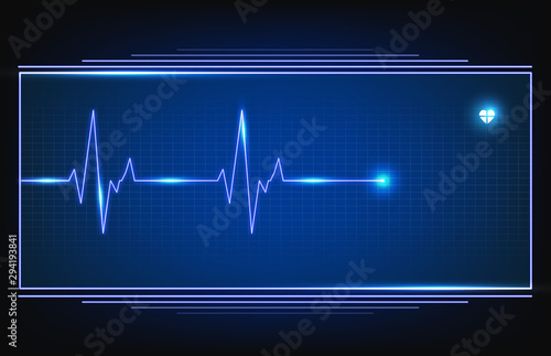 Valokuva  digital ECG heartbeat pulse line wave monitor with hud