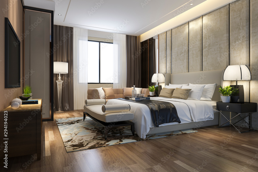 Fototapeta 3d rendering beautiful luxury bedroom suite in hotel with tv and working table