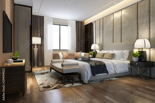 3d rendering beautiful luxury bedroom suite in hotel with tv and working table Fototapeta