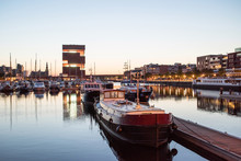Night View Of Modern Eilandje Area And Port In Antwerp, Belgium. Small Island District And Sailing Marine At Sunset. Popular Travel Destination And Tourist Attraction