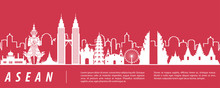 ASEAN Famous Landmark Silhouette With Red And White Color Design