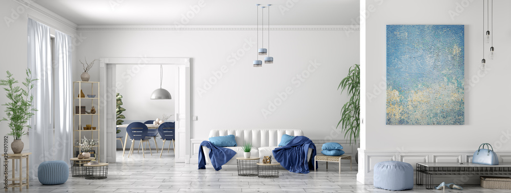 Fototapeta Interior design of modern scandinavian apartment, living room and dining room, panorama 3d rendering