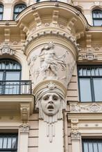 Detail Of Art Nouveau (Jugendstil) Building In The Historical Center Of Riga; Latvia