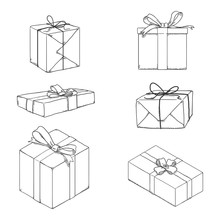 Vector Set Of Sketch Gift Boxes With Ribbons And Bows.