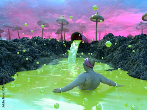 woman bathe in the toxic water Canvas-taulu
