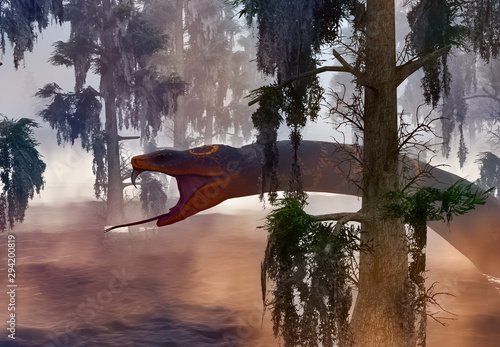 Photo Snake in the swamp grown with bald cypress 3d rendering