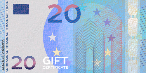 Fotografía Voucher template banknote 20 with guilloche pattern watermarks and border