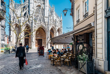 Cozy Street With Church Of Saint-Maclou In Rouen, Normandy, France