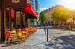 canvas print picture Cozy street with tables of cafe in Paris, France