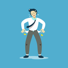 Vector Illustration Of Poor Businessman Showing His Empty Pockets For Design.