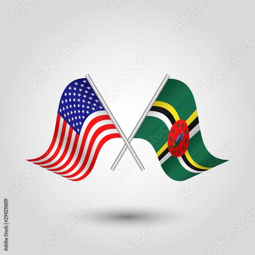 Photo vector two crossed american and dominican flags on silver sticks - symbol of uni