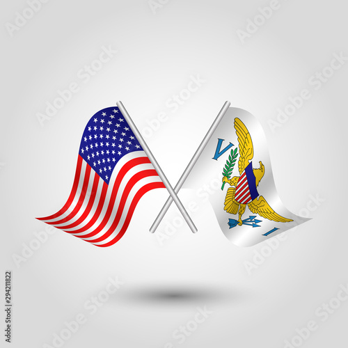 vector two crossed american and islander flags on silver sticks - symbol of unit Wallpaper Mural